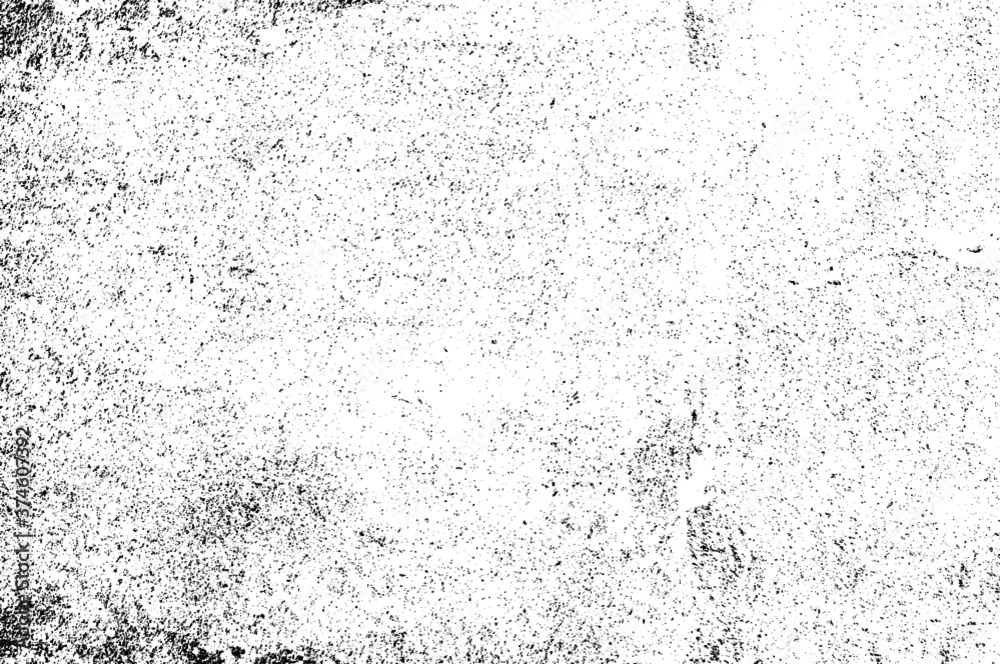 Fototapeta Black and white grunge vector abstract texture background. Grungy dark dirty grain detail stain distress paint on old age wall textured, retro overlay backdrop