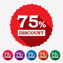 75% Off Discount Tag, Sticker,...