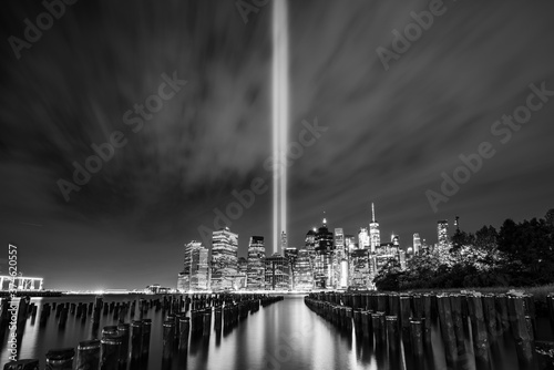 Tribute in Light,911 memorial,New york city skyline with reflection in water at night Fototapeta