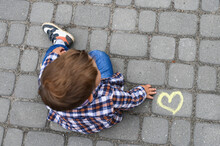 Yellow Heart Drawn With Chalk ...