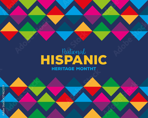 Tela colored pattern background design, national hispanic heritage month and culture