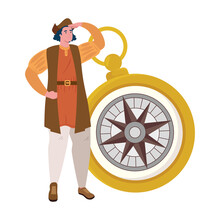 Christopher Columbus Cartoon With Gold Compass Design Of America Discovery Theme Vector Illustration