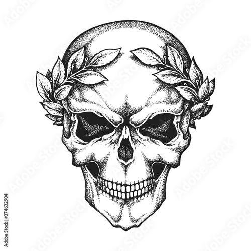 Roman Emperor Caesar Skull Wearing Laurel Wreath Canvas Print