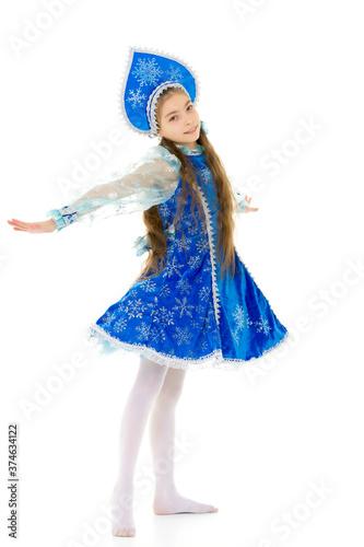 Little girl in the Snow Maiden costume Fototapeta