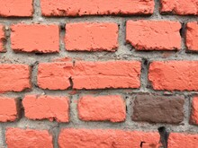 Close Up Texture Of Red Brick Wall.