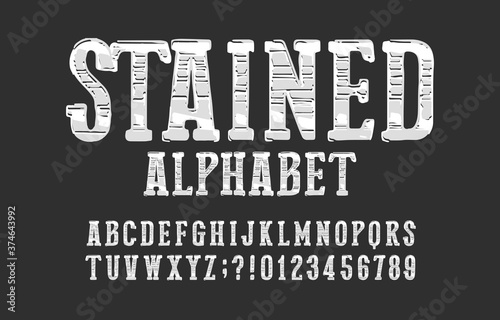 Obraz na plátne Stained alphabet font