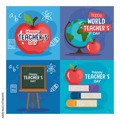 Fotografie, Tablou apple books green board and world sphere design, Happy teachers day celebration