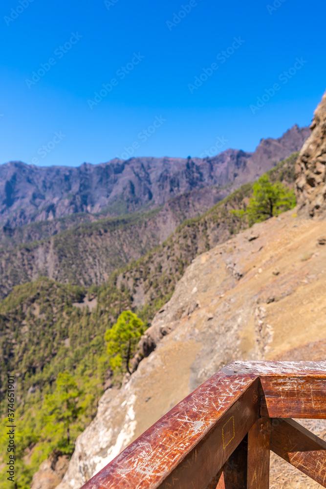Mirador de los Roques on the mountain of La Cumbrecita on the island of La Palma next to the Caldera de Taburiente, Canary Islands. Spain