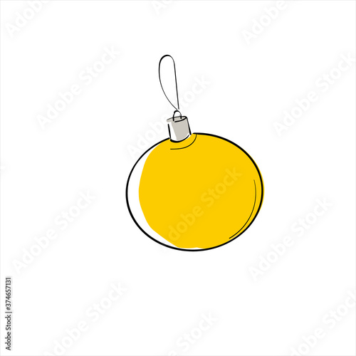 Fototapeta Color Christmas toy for design. A Christmas ball. Vector stock illustration on a white isolated background. obraz