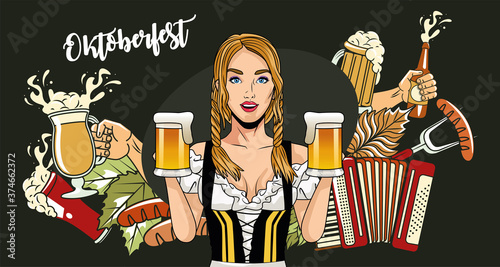 oktoberfest woman cartoon with traditional cloth sausages beer glasses and accor Fototapeta