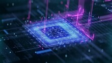 Technology Background CPU Circuit. 3D Visualization AI Processor Power. Colorful Blue Bright Digitalization Process. Data Transmission In Futuristic Board Chip Virtual Computer Animation Closeup 4K