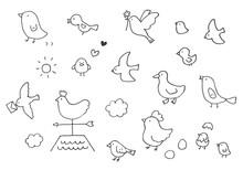 手描きのゆるい鳥イラスト