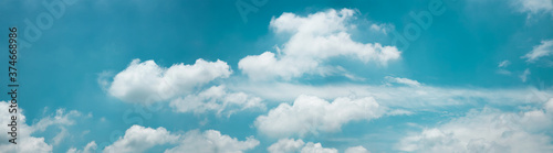 Photo Clouds in the Blue Sky on Sunny Day, Nature Scenery with a Good Weather