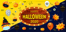 Happy Halloween 2020 Poster With Halloween Ghost Balloons And Pumpkin With A Mouth Mask. Vector EPS 10  Illustration