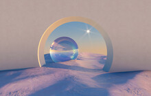 Abstract Winter Scene With Geometrical Forms, Arch With A Podium In Natural Light. Surreal Background. 3D Render.