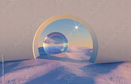 Obraz na plátně Abstract winter scene with geometrical forms, arch with a podium in natural light