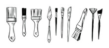 Set Of Paint Brushes. Hannd Drawn Sketch. Vector Illustration