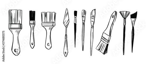 Fotografie, Obraz Set of paint brushes. Hannd drawn sketch. Vector illustration