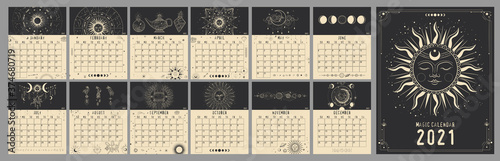 Obraz Monthly and weekly planner. magical image of cosmic bodies, stars, constellations, the sun and the moon. Retro vintage vintage style engraving. astrology and horoscope. Vector graphics - fototapety do salonu