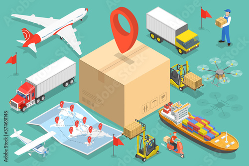 Photo 3D Isometric Flat Vector Conceptual Illustration of International Cargo Delivery, Logistics and Transportation