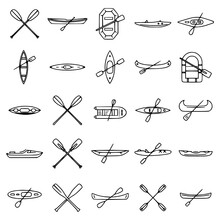 Extreme Canoeing Icons Set Out...
