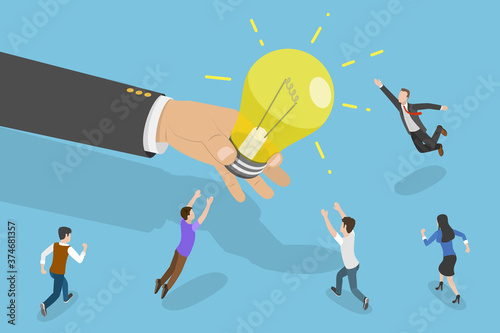 3D Isometric Flat Vector Conceptual Illustration of Chasing Idea, People are Fighting for the Light Bulb Giving Them by a Big Hand Wallpaper Mural