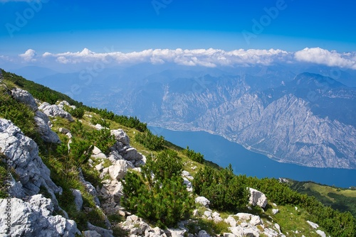 Panoramic view of Garda Lake from Altissimo Mount in a sunny day in spring Canvas Print