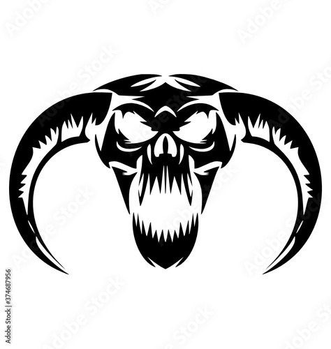 Obraz na plátně scary demon skulls vector Demon, Skulls, Scary, Skull, Halloween, Devil, Tattoo,