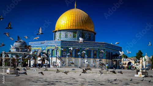 Tela dome of the rock east Jerusalem mosque golden roof