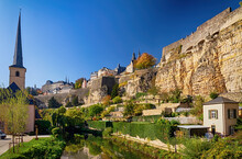 View Of Luxembourg City In Autumn, Luxembourg.