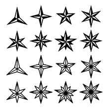Star Of Wind Roses Icon Set Ve...