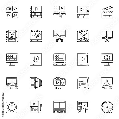 Obraz video editor icons set vector Video, Editor, Editing, Logo, Icon, Set, Camera, Cinema, Line, Film, Thin, Symbol - fototapety do salonu