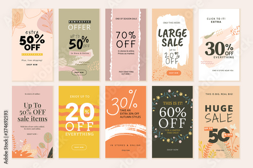 Fotografering Social media sale banners and web ads templates set