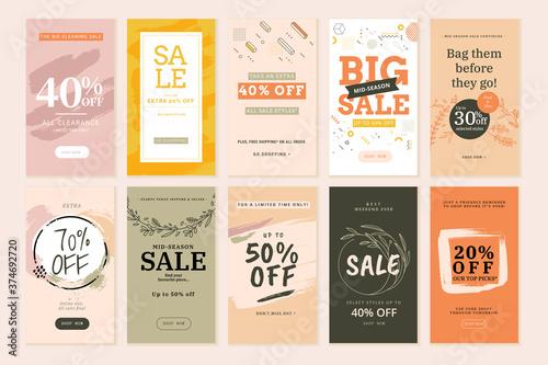 Social media sale banners and web ads templates set Billede på lærred