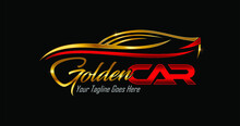 Simple And Elegance Car Logo In Gold And Red Color