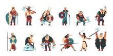 Viking Characters. Cartoon Sca...