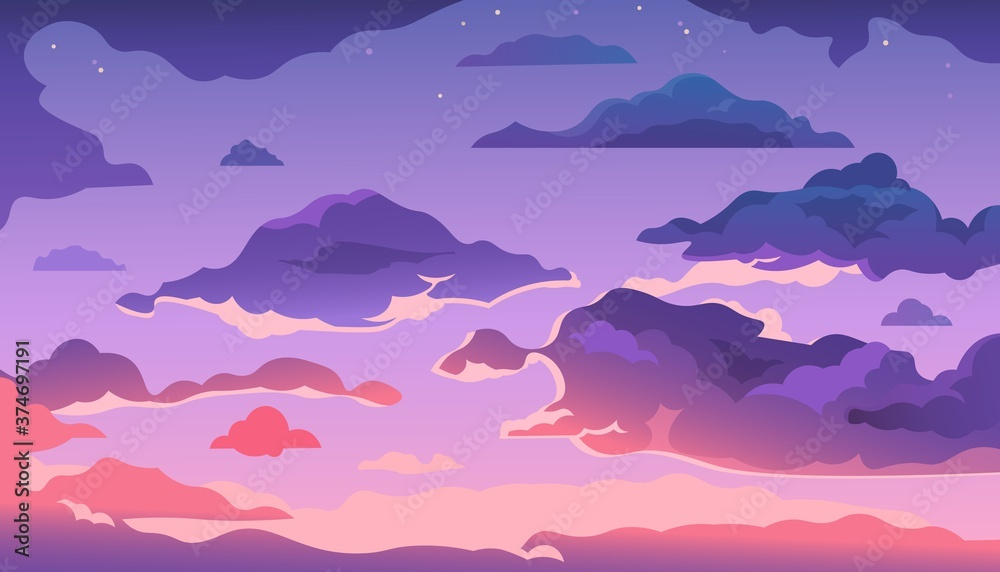 Fototapeta Cartoon evening sky. Sunset or morning landscape with clouds and gradient sky, colorful heaven skies background. Vector illustration cloudy summer dark evening air with shine stars