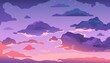 Cartoon evening sky. Sunset or morning landscape with clouds and gradient sky, colorful heaven skies background. Vector illustration cloudy summer dark evening air with shine stars