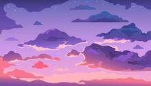 Cartoon Evening Sky. Sunset Or...