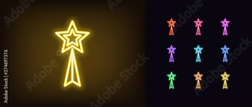 Obraz na plátně Neon awards statuette icon. Glowing neon reward with star, trophy