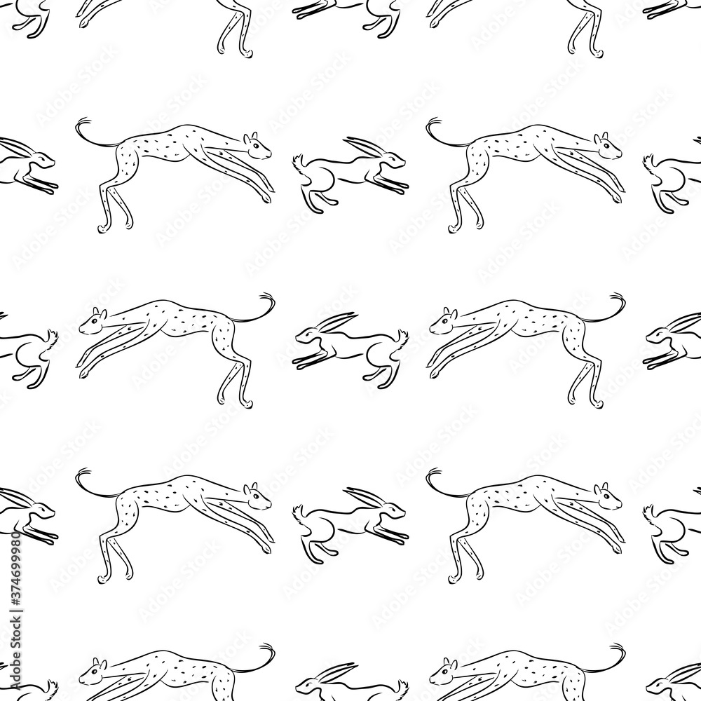 Fototapeta Seamless background of sketches jaguar hunting a hare