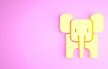 Yellow Elephant Icon Isolated On Pink Background. Minimalism Concept. 3d Illustration 3D Render.