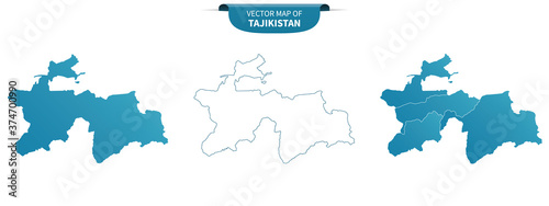 Cuadros en Lienzo blue colored political maps of Tajikistan isolated on white background