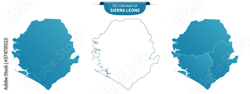 Fototapeta blue colored political maps of Sierre Leone isolated on white background