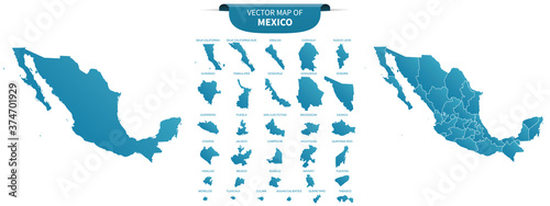 blue colored political maps of Mexico isolated on white background