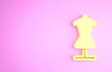 Yellow Mannequin Icon Isolated On Pink Background. Tailor Dummy. Minimalism Concept. 3d Illustration 3D Render.