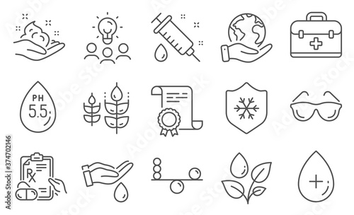 Fotografie, Obraz Set of Healthcare icons, such as Plants watering, Medical syringe