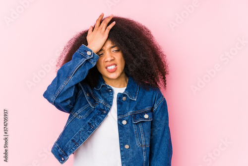 Tablou Canvas Young african american woman forgetting something, slapping forehead with palm and closing eyes