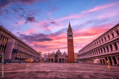 Saint Mark's square with campanile and basilica in Venice. Wallpaper Mural