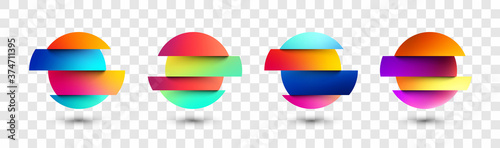 Set of deformed gradient circles in glitch style. Fototapeta